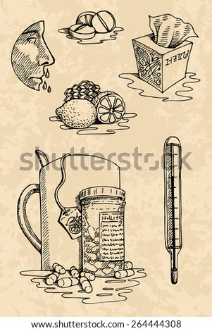 I am sick! Collection of useful vector illustrations on the theme of illness and treatment in hand drawn vintage style - stock vector