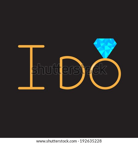 I do. Gold wedding ring with blue diamond. Vector illustration - stock vector