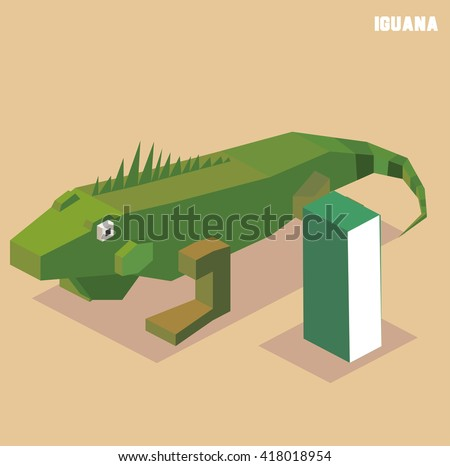 I for iguana. Animal Alphabet collection. vector illustration - stock vector