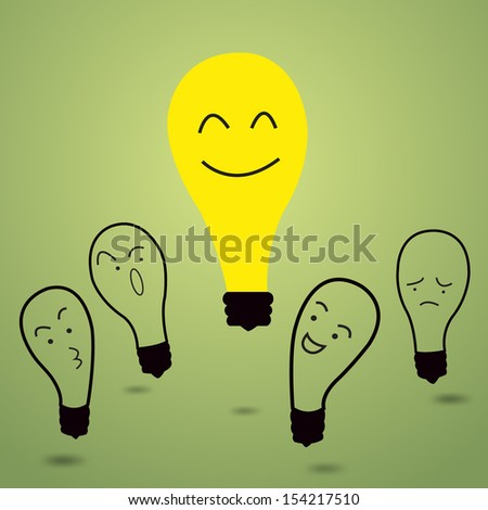 I got idea, representing with one lightbulb get brighter than other. Vector illustration. - stock vector