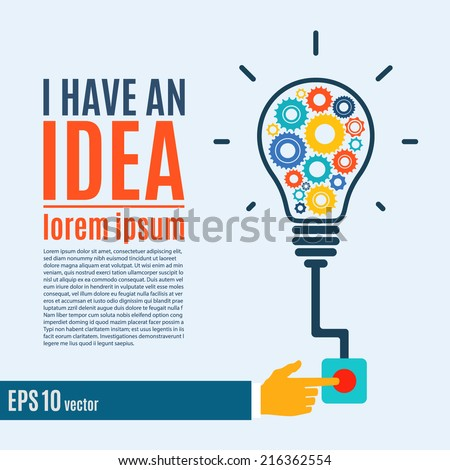 I have an idea, creative conceptual background. Flat design. Perfect for poster, flyer, presentation or brochure. Vector illustration - stock vector