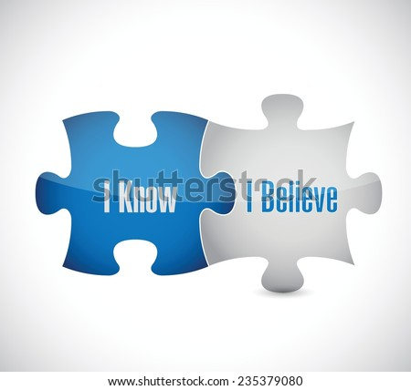 I know I believe puzzle pieces illustration design over a white background - stock vector
