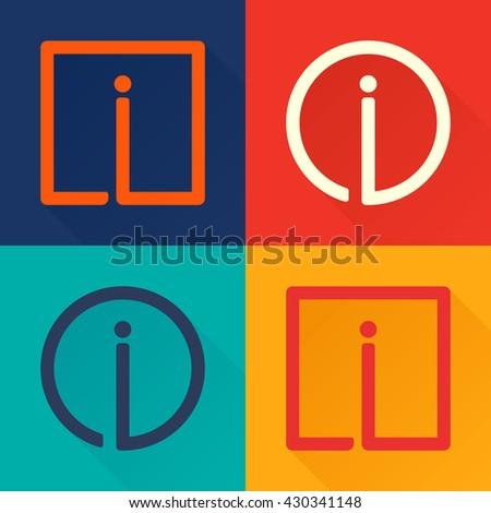 I letter flat logo in circle and square.