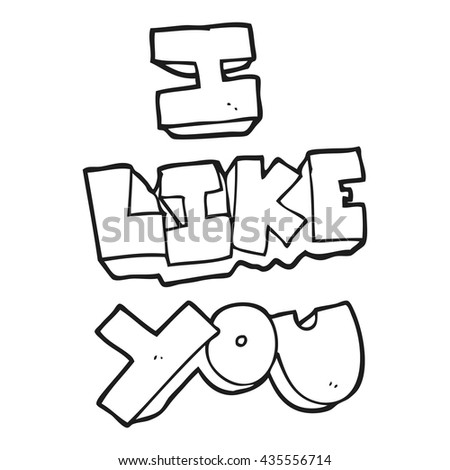 I like you freehand drawn black and white cartoon symbol