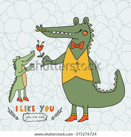 I like you. You are cute. Beautiful card with hand drawn crocodile characters.  - stock vector