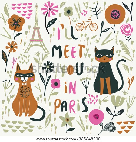 I'll Meet You In Paris. Print Design - stock vector