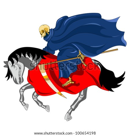 I looked, and behold a pale horse: and his name that sat on him was Death - stock vector