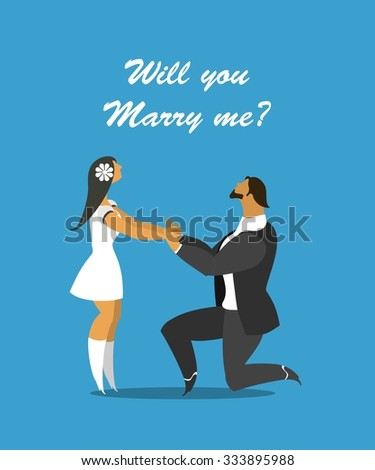 I love a man standing on one knee in front of a beautiful woman making her an offer - stock vector