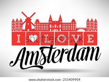 I Love Amsterdam Typography Design - stock vector