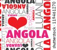 I love Angola Luanda seamless typography background pattern in vector - stock photo