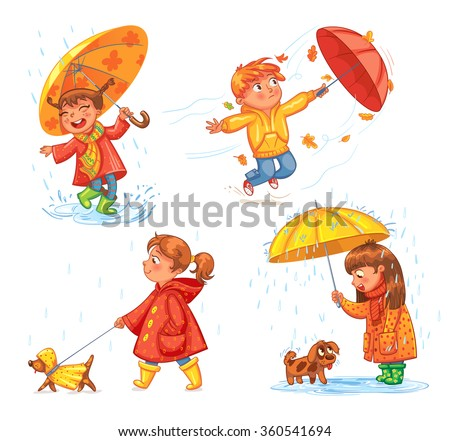 I love autumn. Walk on outdoors. Children under the umbrella. Girl walking a dog. Kid enjoys the rain. Umbrella wind blows. Funny cartoon character. Vector illustration. Isolated on white background - stock vector