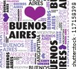 I love Buenos Aires Argentina seamless typography background pattern in vector - stock vector