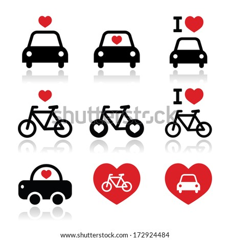 I love cars and bikes icons set - stock vector