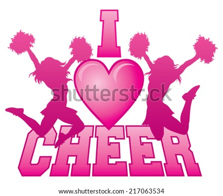 I Love Cheer is an illustration of a cheer design for cheerleaders. Express your love for cheerleading. Includes two jumping cheerleaders and a heart shape. - stock vector