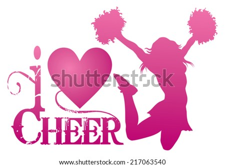 I Love Cheer With Jumping Cheerleader is an illustration of a cheer design for cheerleaders. Express your love for cheerleading. Includes a jumping cheerleader and a heart shape. - stock vector