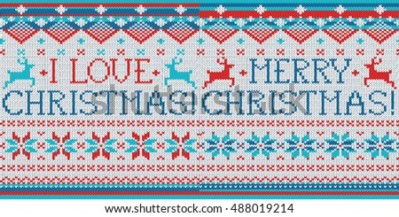 I love Christmas, Merry Christmas: 2 Scandinavian style seamless knitted patterns with deer.
