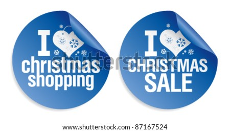 I love Christmas shopping stickers set. - stock vector