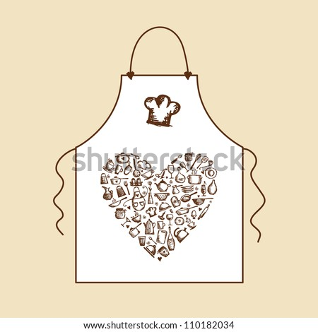 I love cooking! Apron with kitchen utensils sketch for your design - stock vector