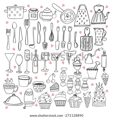 I love cooking. Kitchen utensils collection - stock vector