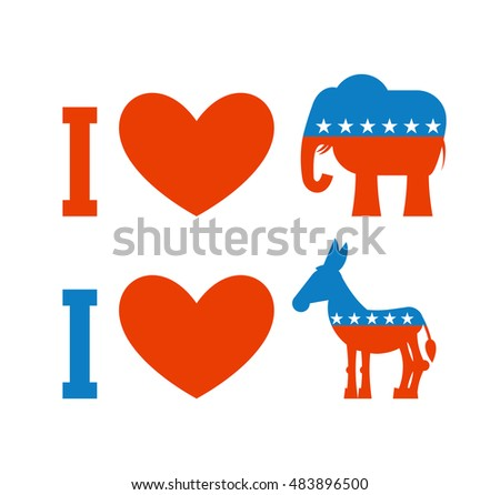 I Love Democrat Like Republican Symbol Of Heart Donkey And Elephant Poster