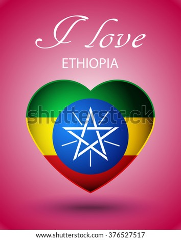 I love Ethiopia - glossy heart with national flag on pink background