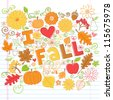I Love Fall Back to School Style Sketchy Notebook Doodles with Pumpkins, Leaves, and Autumn Flowers- Hand-Drawn Vector Illustration Design Elements on Lined Sketchbook Paper Background - stock vector
