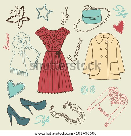I love Fashion! fashion background with a summer dress, shoes, bag and accessories - stock vector