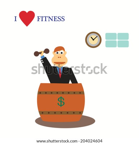 I love fitness concept on businessman in wood dollar tube