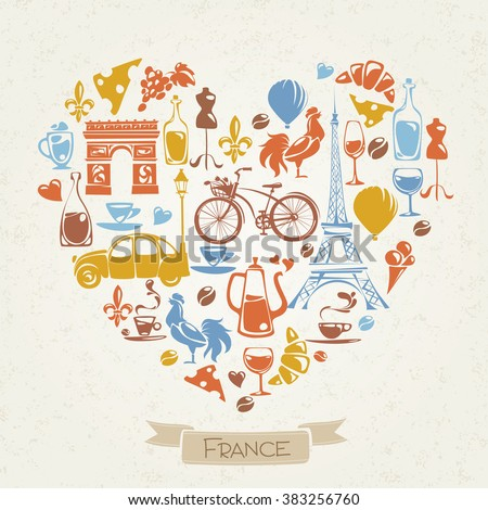 I love France. Heart shaped pattern in French theme. Symbols of France. Flat icons.