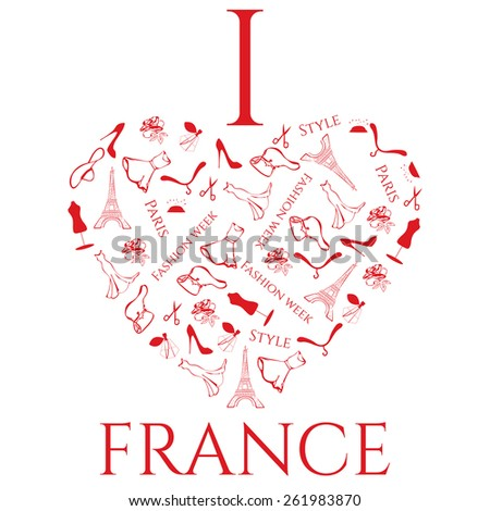 Love France Heart Symbols Accessories Woman Stock Vector 261983870
