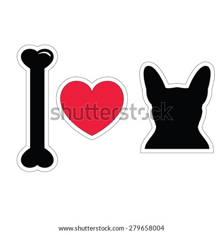 I love French bulldog hipster in white and black design   - stock vector