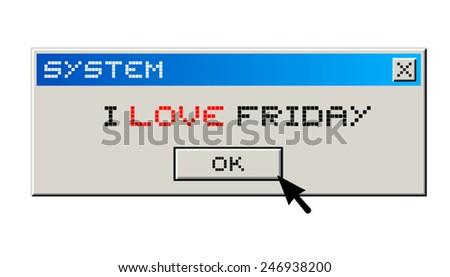 I love friday message - stock vector