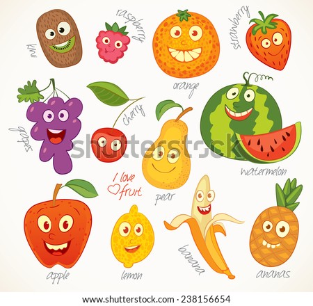 I love fruit. Funny cartoon character. Vector illustration. Isolated on white background. Set - stock vector