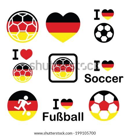 I love German football, soccer icons set - stock vector