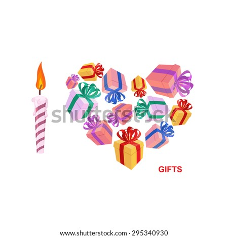 I love gifts. Symbol of heart of boxes of gifts. Vector illustration  - stock vector