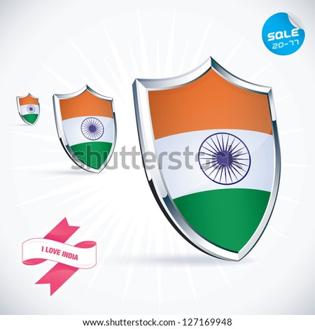 I Love India Flag Illustration, Sign, Symbol, Button, Badge, Icon, Logo for Family, Baby, Children, Teenager, People - stock vector