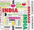 I love India seamless typography background pattern in vector - stock photo