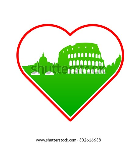 I love Italy - template for the sign. The idea for the label design, printing on clothing, decor souvenirs.