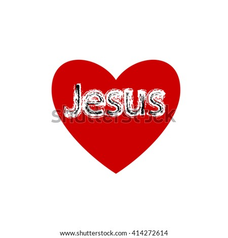 i love Jesus, font type with heart
