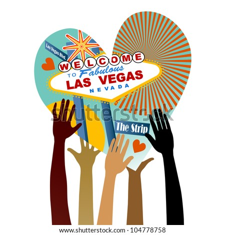 I love Las Vegas heart with hands - stock vector