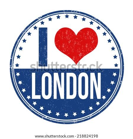 I love London grunge rubber stamp on white background, vector illustration - stock vector