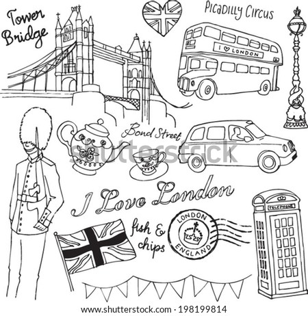 I Love London icons doodle set - stock vector