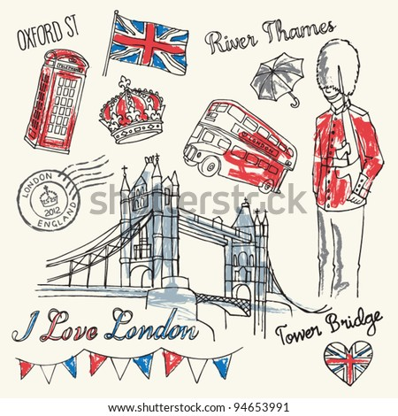 I love London icons doodles drawing - stock vector