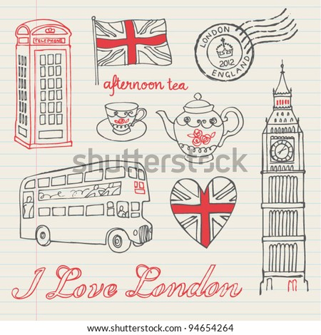 I love London icons doodles drawing background set - stock vector