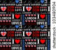 I Love London seamless pattern. - stock vector