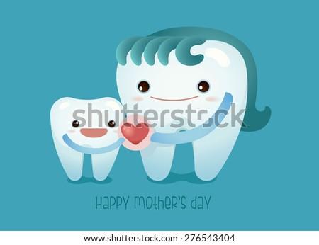 I love mom ,dental concept - stock vector