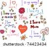 I love mom! set - stock vector