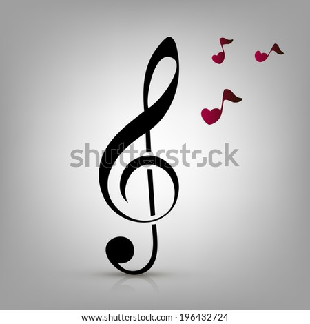 I love music concept, treble clef and heart-shaped music notes - stock vector