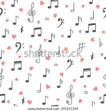 I love music. Music seamless pattern background. Hand drawn music notes and hearts. Vector illustration - stock vector