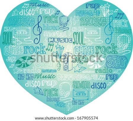 I Love Music - various music icons arranged in heart shape - stock vector